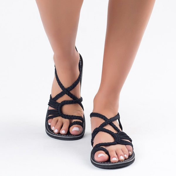 Cross Tied Strappy Sandals