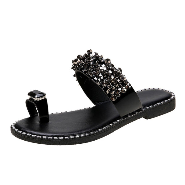 Crystal Rivets Flat Slippers