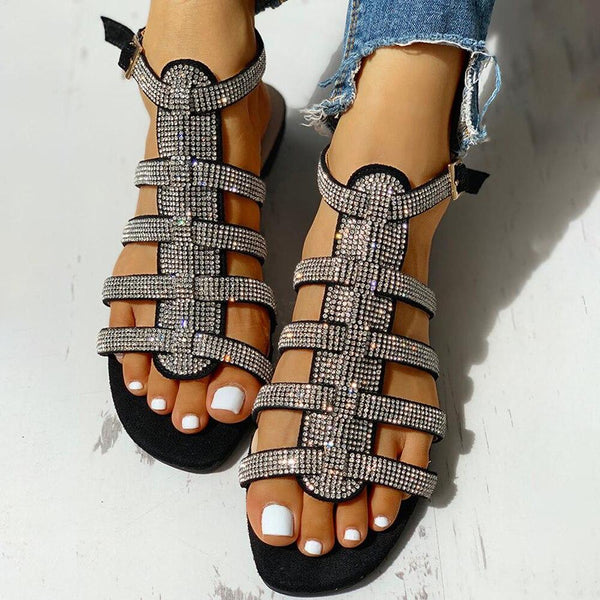 Bling Strappy Flat Sandals