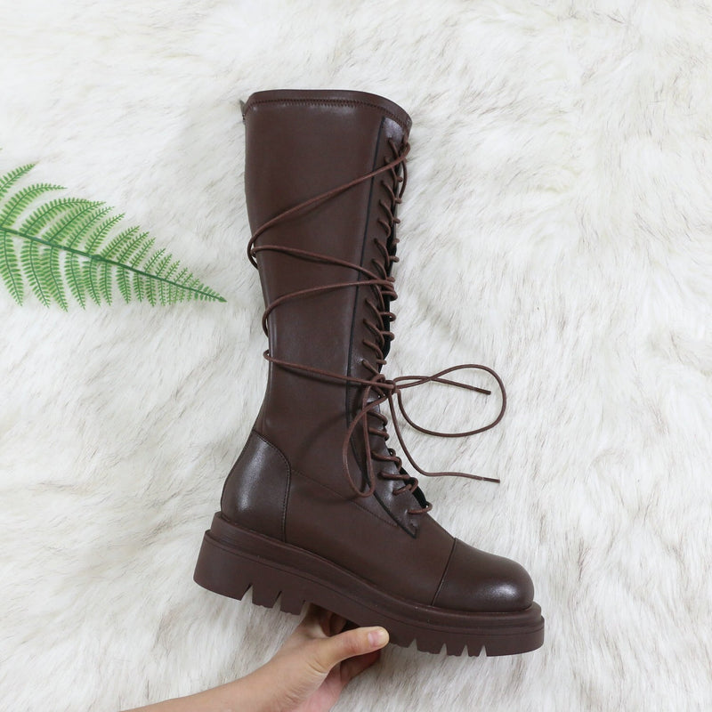 Lace Up Zipper Chunky Boots