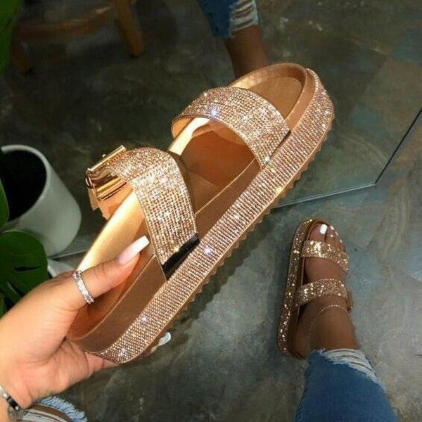Double Rhinestone Studded Straps Slippers - Tsubo Shoes