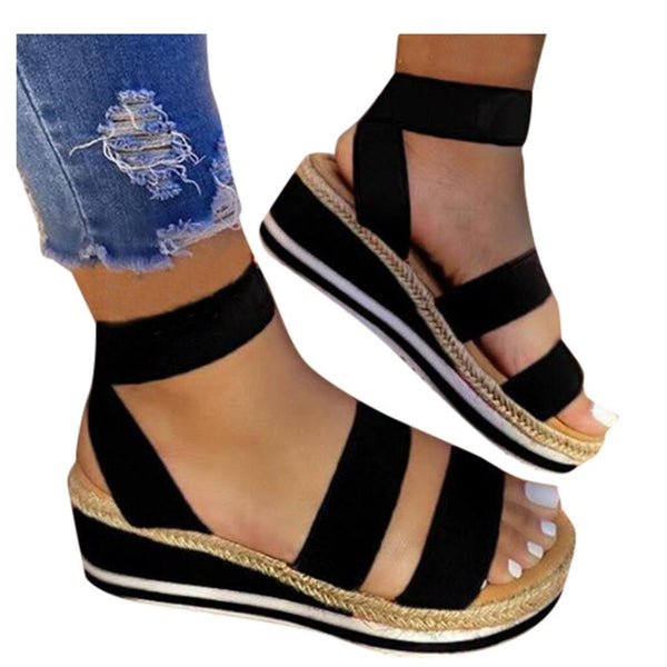 Elastic Band Ankle Strap Wedge Open Toe Platform Sandals - Tsubo Shoes