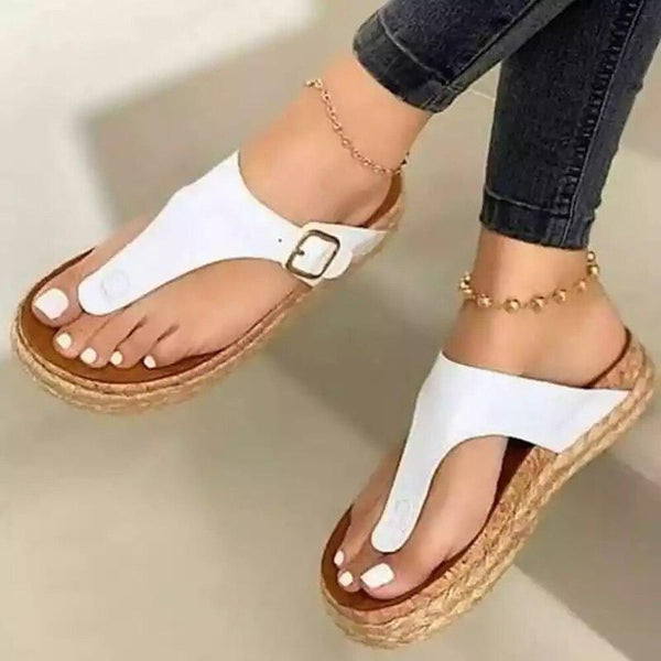 Fashion Buckle Wedges Slippers - Tsubo Shoes