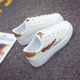 Feather Embroidery Platform Sneakers - Tsubo Shoes