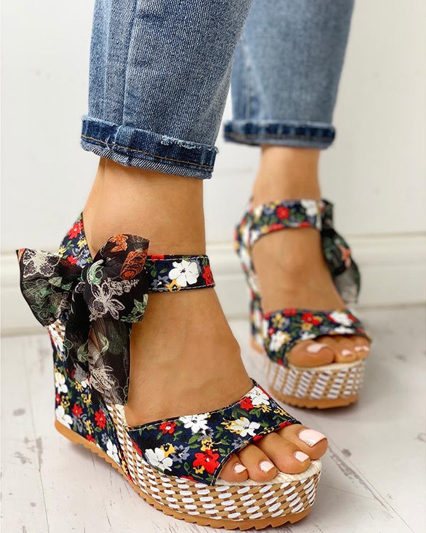 Flowers Print Bowtie Wedges Sandals - Tsubo Shoes