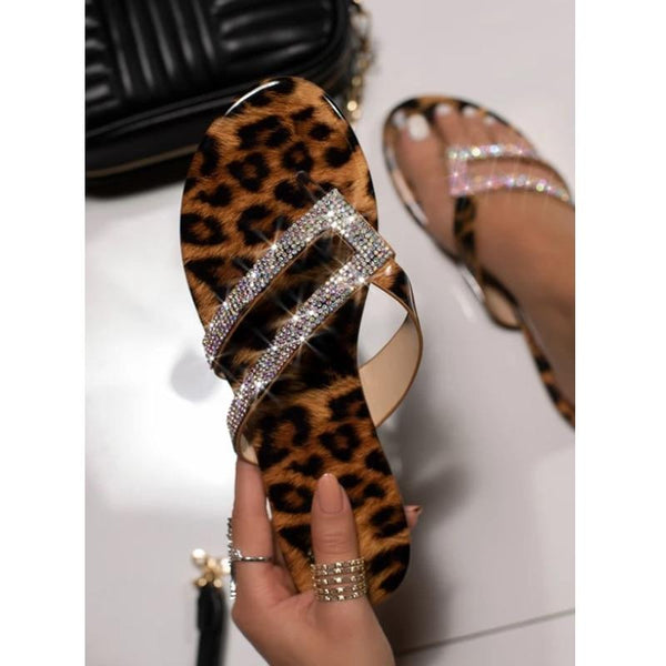 Glitter Studded Leopard Print Flat Slippers - Tsubo Shoes
