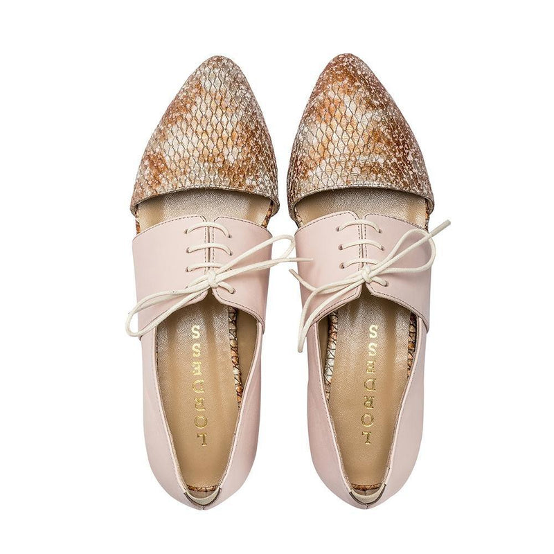 Handmade Peach and Snakeskin Oxfords - Tsubo Shoes
