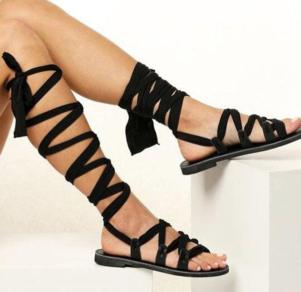 High Top Ankle Straps Flat Sandals - Tsubo Shoes