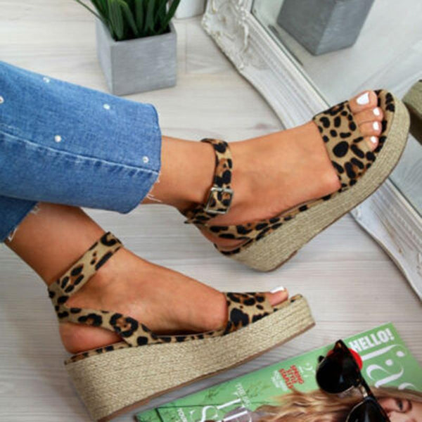 Leopard Print Ankle Straps Wedges Sandals - Tsubo Shoes