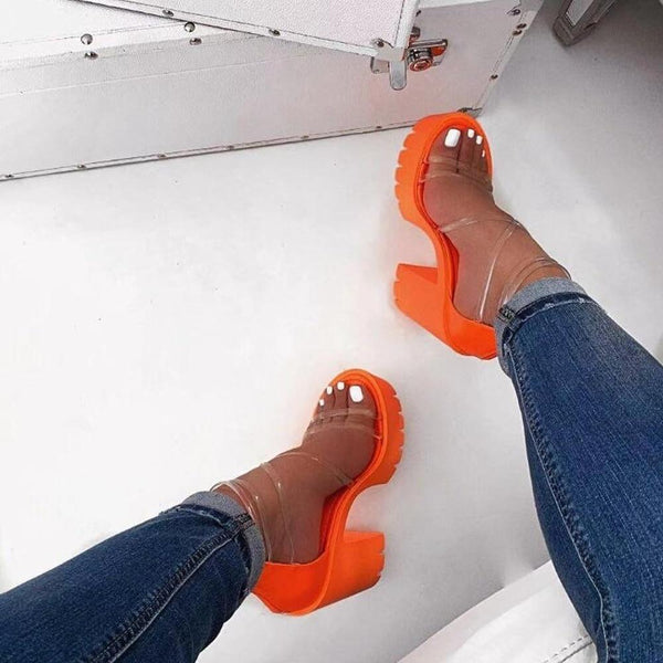 Neon Orange High-heeled Sandals - Tsubo Shoes