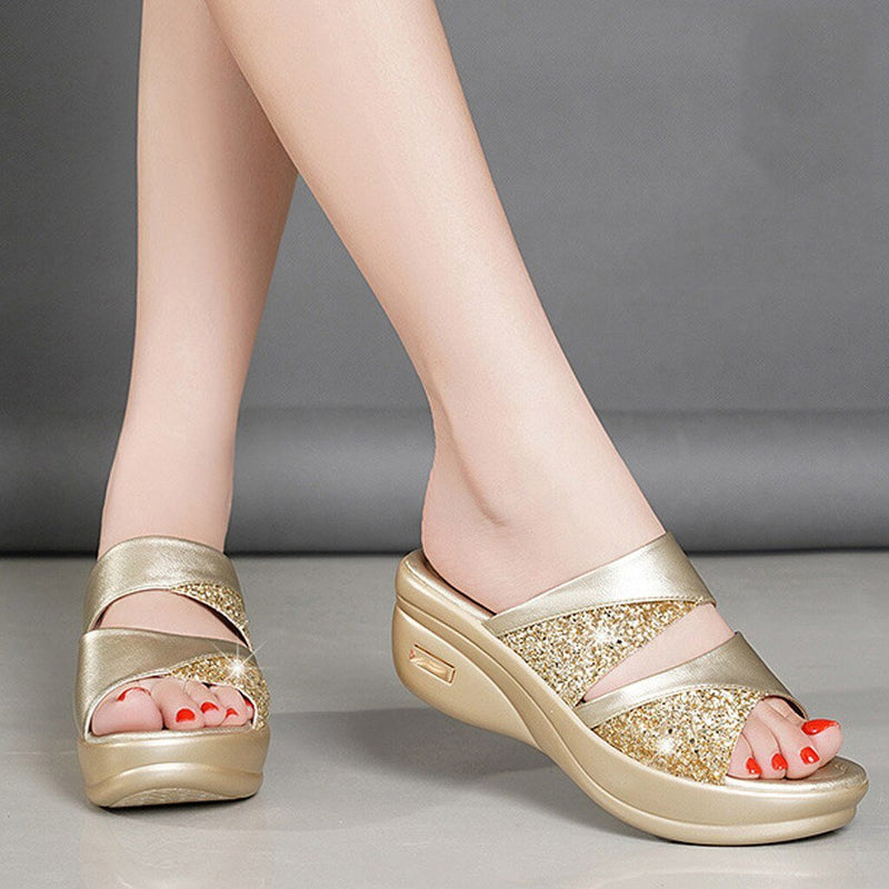 Peep Toe Wedges Slippers - Tsubo Shoes