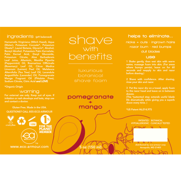 Eco-armour 5 Oz. Pomegranate + Mango Shave Foam
