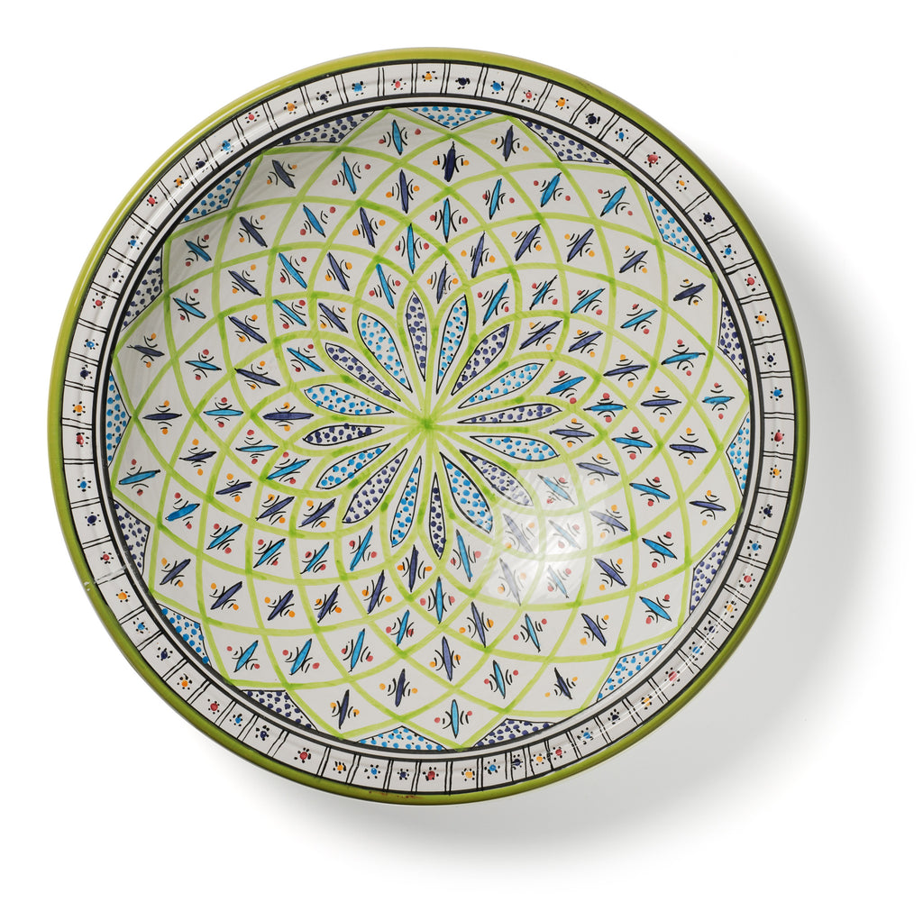 Decorative Tunisian Ceramic Round Bowl Serving Platter Blue Green