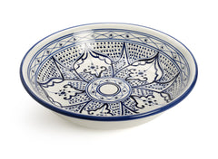 Decorative Tunisian Ceramic Round Bowl Serving Platter Blue White