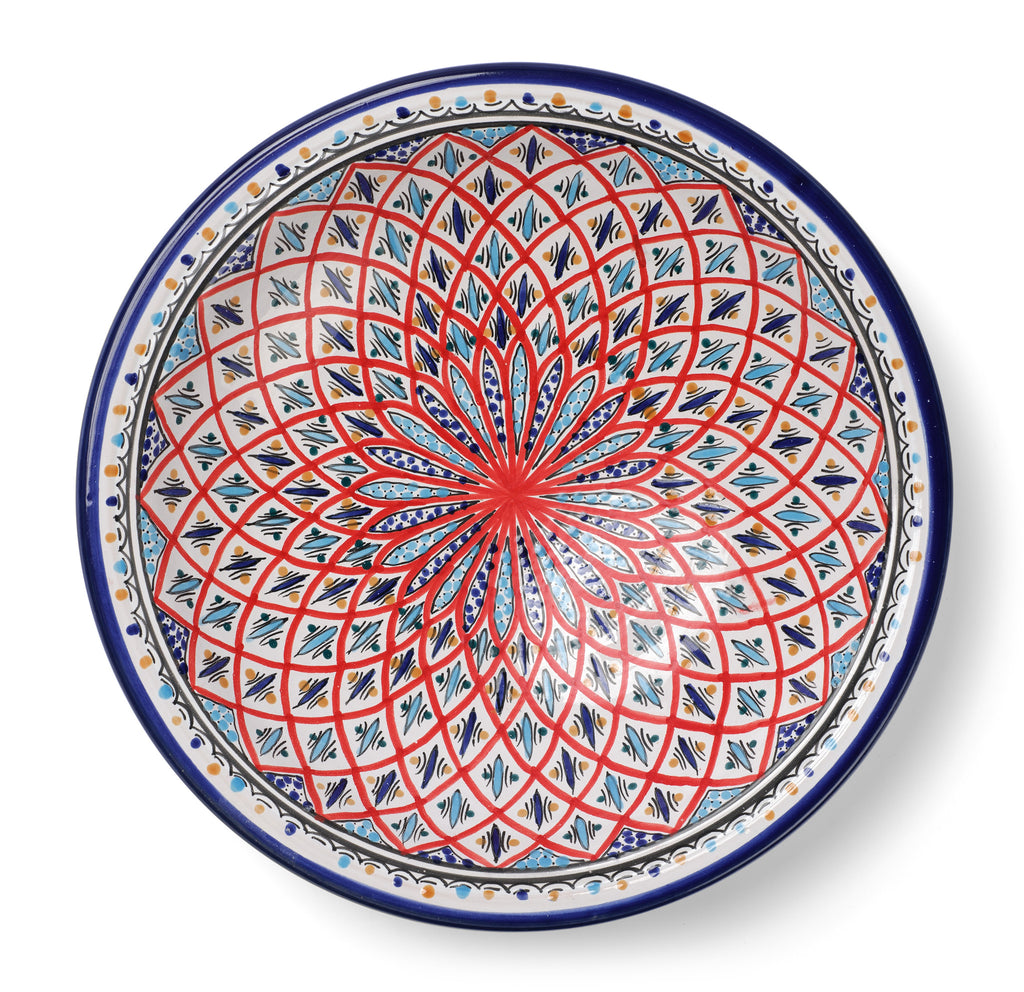 Decorative Tunisian Ceramic Round Bowl Serving Platter Red Blue