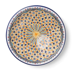 Decorative Tunisian Ceramic Round Bowl Serving Platter Blue Yellow