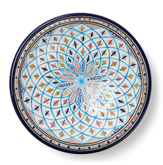 Decorative Tunisian Ceramic Round Bowl Serving Platter Blue White Aqua