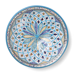 Decorative Tunisian Ceramic Round Bowl Serving Platter Light Blue Yellow