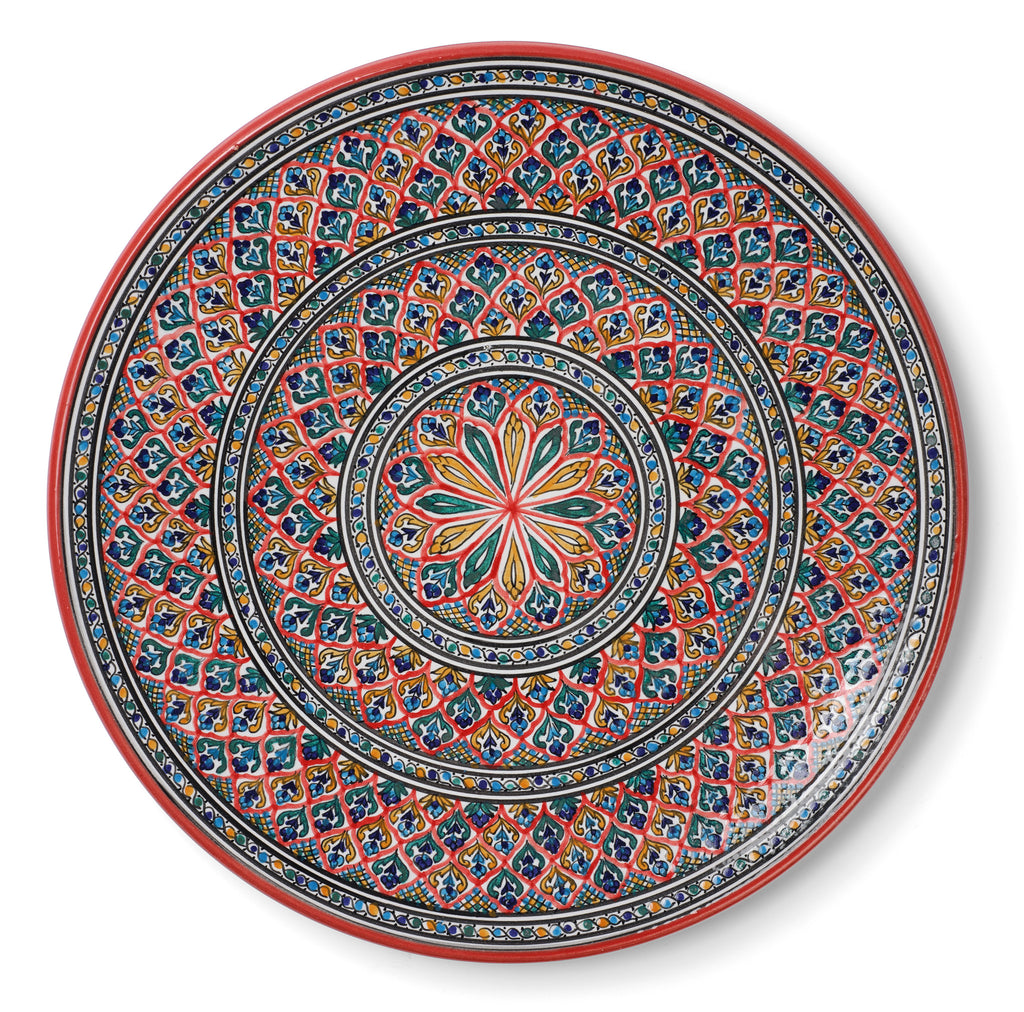 Tunisian Red & Blue Decorative Round Ceramic Plate