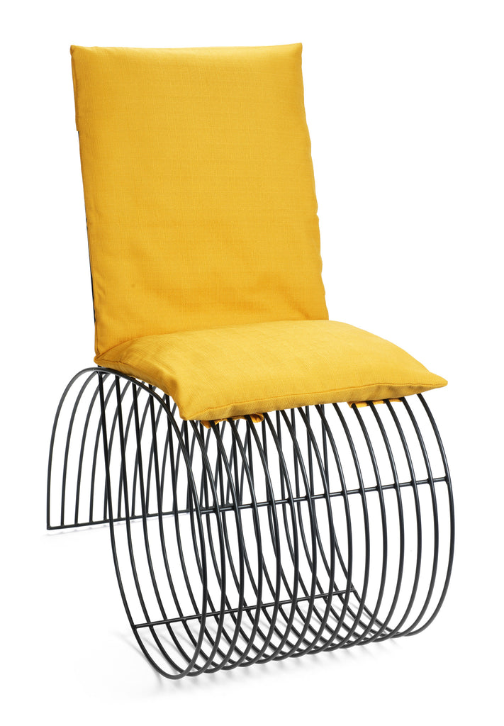 Modern Black Steel Teardrop Chair with Yellow Cushion by Whitebox