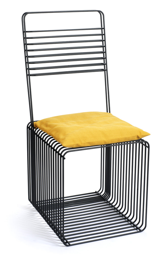 Modern Black Steel Square Chair with Yellow Cushion by Whitebox
