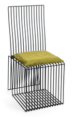 Contemporary Black Steel Square Chair with Green Cushion by Whitebox