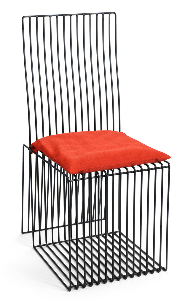 Contemporary Black Steel Square Chair with Red Cushion by Whitebox