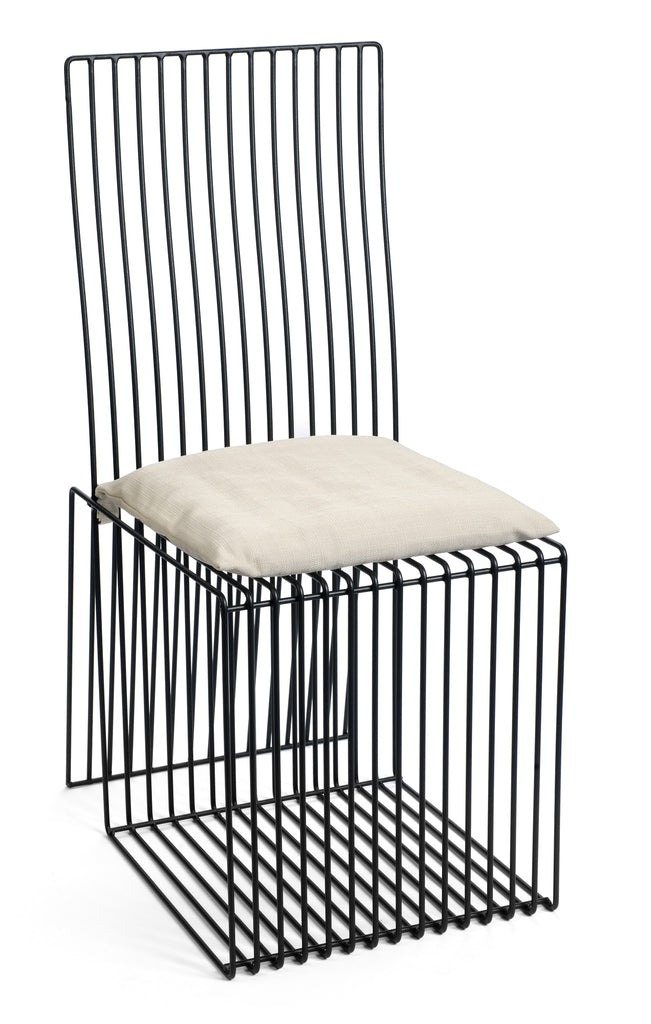 Contemporary Black Steel Square Chair with White Cushion by Whitebox