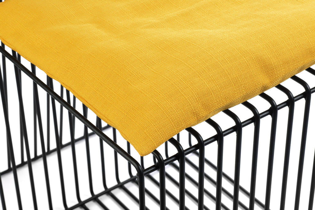 Contemporary Black Steel Square Chair with Yellow Cushion by Whitebox