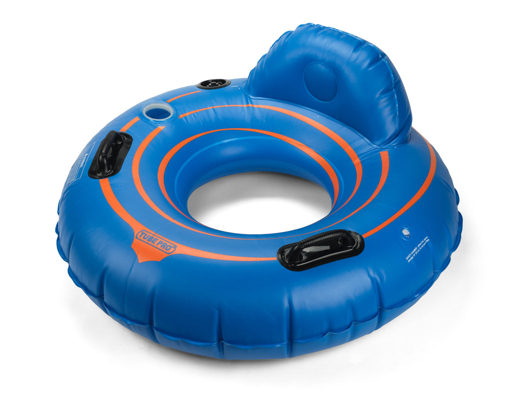 "Tube Pro Blue 44"" Premium River Tube with Backrest & Cupholder"