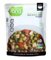 Vana Life Foods Legume Bowl with Green Chickpeas, Kale, Potato, Tomato, and Rosemary, 10 Ounce Pouch (Pack of 1)