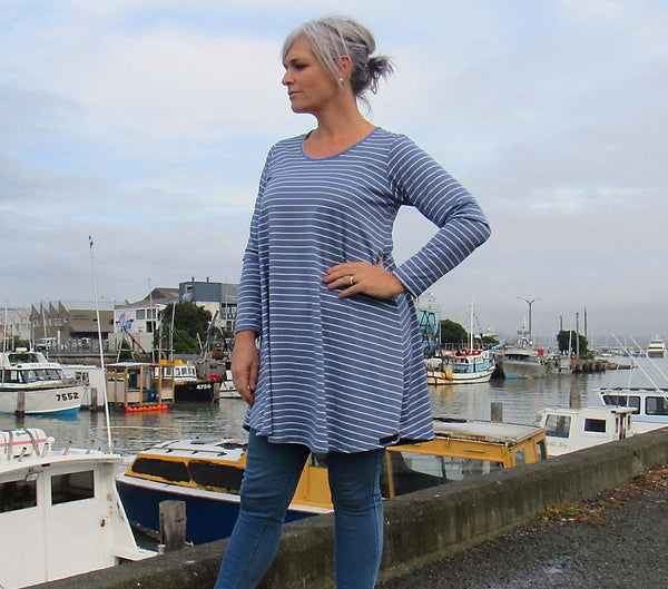 TIGERLILLY TOP BLUE/WHITE STRIPE Was $105 Now $52.50