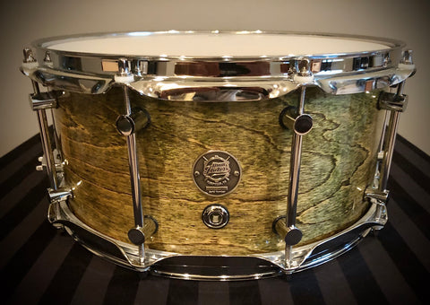 "D.P. Custom Patriot 14x6.5"" 6-Ply Maple/Mahogany/Maple Snare Drum In Rain Forest Green"