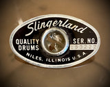 Slingerland  1973 Niles IL Badge - football shape in  Black & Silver