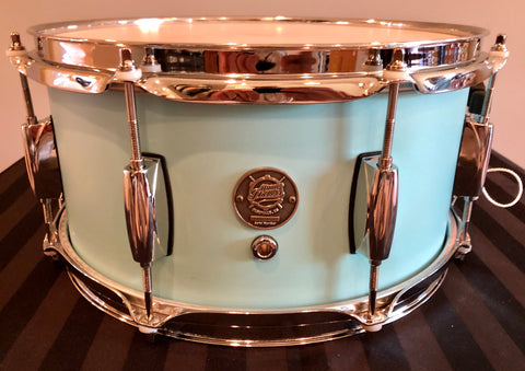 "D.P. Custom Preferred Power Piccolo 6.5""x13"" 6-Ply Maple Snare Drum Sea-Foam Blue"