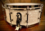 "DrumPickers DP Custom Line 14x6.5"" African Mahogany/Maple Snare Drum in  White Marine Pearl"
