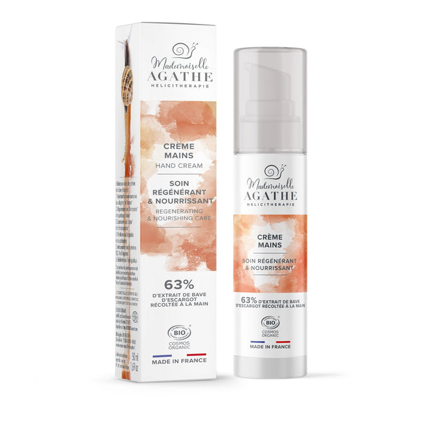 REJUVENATING HAND CREAM 63% Snail extract intense hydration treatment Mademoiselle Agathe