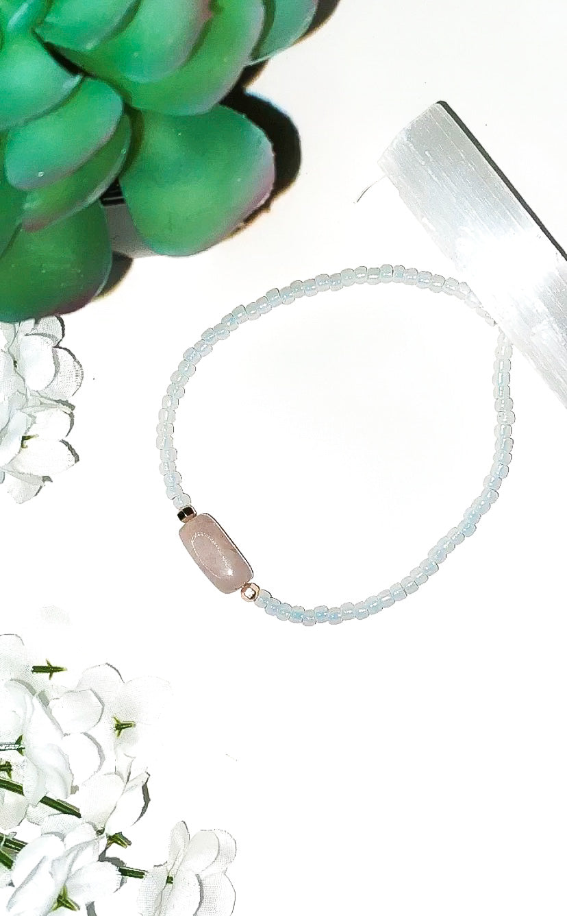 White Rose Quartz Anklet