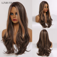 Long Wavy Hair Wig with Highlights - Heat Resistant Synthetic Wigs