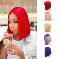 Colored Human Hair Wigs - 180% Density Straight Non Lace Front Wig