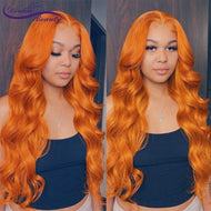 Orange Ginger Color Brazilian Human Hair Wig -  Glueless 180% Remy Hair Wigs