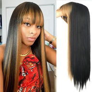 Long Straight Hair Wig with Bangs - Heat Resistant Synthetic Hair
