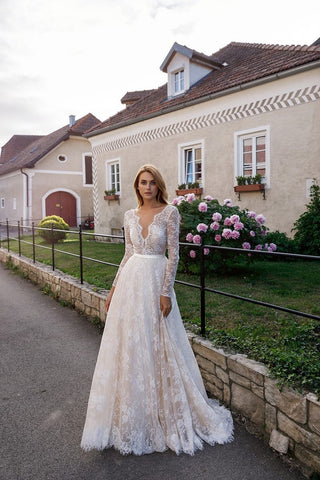 Bohemian Chic Wedding Dress a maniche lunghe