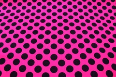 Mavis and Bob Fabric Pink Black Polka Dot