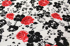Mavis and Bob Fabric Black White Roses