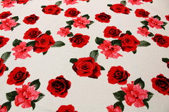Mavis and Bob Fabric Red Roses on Ivory