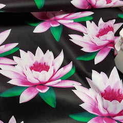 Lillies on Black Cotton Sateen