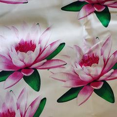 Lillies on White Cotton Sateen
