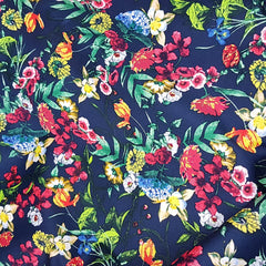 Navy Floral Print on Cotton Sateen