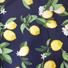 Lemons On Navy Cotton Sateen